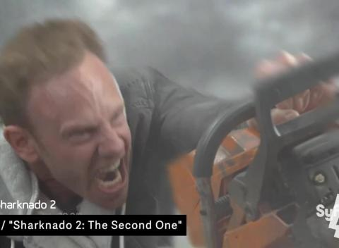 News video: Midday Mashup: Sharknado Cameo, Backward Dress And Awkward Talk